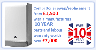 Combi Boiler swap/replacement from £1,450 with a manufacturers 10 YEAR parts and labour warranty worth over £2,000